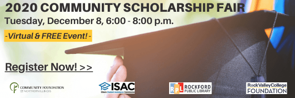 Image advertising the 2020 Community Scholarship Fair, to be held December 8, 2020. Click to learn more and register.